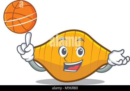 With basketball conchiglie pasta character cartoon - Stock Photo