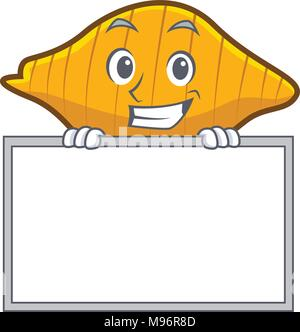 Grinning with board conchiglie pasta character cartoon - Stock Photo