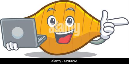 With laptop conchiglie pasta character cartoon - Stock Photo