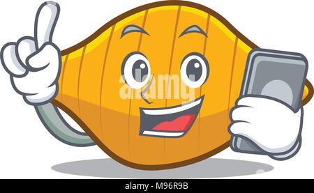 With phone conchiglie pasta character cartoon - Stock Photo