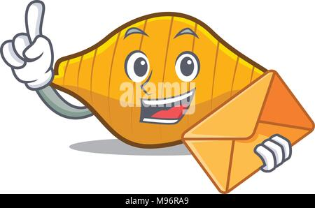 With envelope conchiglie pasta character cartoon - Stock Photo