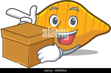 With box conchiglie pasta character cartoon - Stock Photo