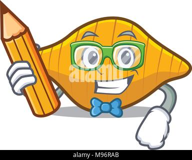 Student conchiglie pasta character cartoon - Stock Photo