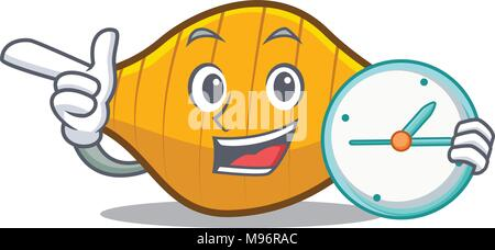 With clock conchiglie pasta character cartoon - Stock Photo