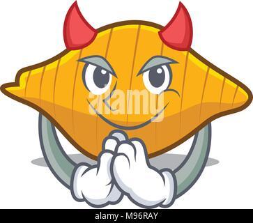 Devil conchiglie pasta mascot cartoon - Stock Photo