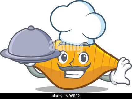 Chef with food conchiglie pasta mascot cartoon - Stock Photo