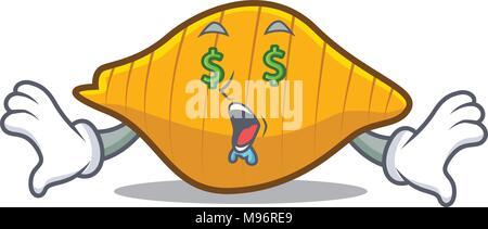 Money eye conchiglie pasta mascot cartoon - Stock Photo