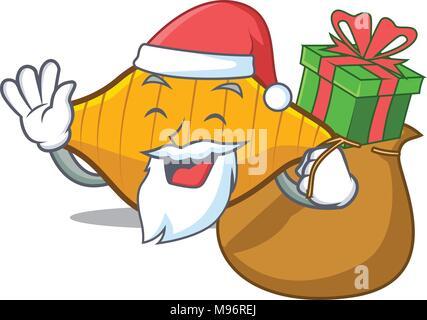 Santa with gift conchiglie pasta mascot cartoon - Stock Photo