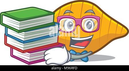 Student with book conchiglie pasta mascot cartoon - Stock Photo