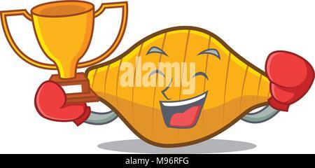 Boxing winner conchiglie pasta mascot cartoon - Stock Photo