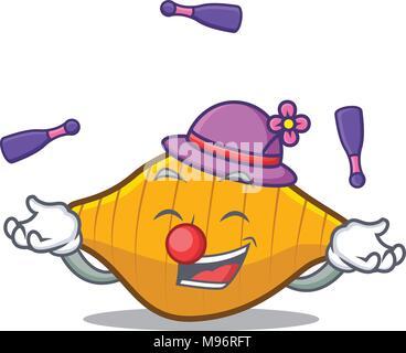Juggling conchiglie pasta mascot cartoon - Stock Photo
