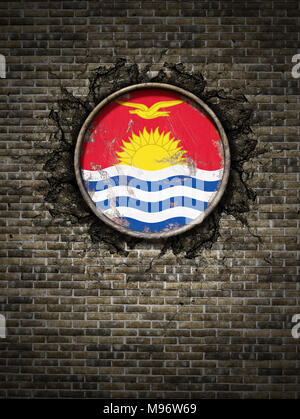 3d rendering of a  Kiribati national flag over a rusty metallic plate embedded on an old brick wall - Stock Photo