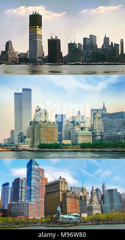 New York historical skyline from 1970 with Twin Towers under construction. New York skyline with World Trade Center in the 1980s, and Lower Manhattan of New York in 2007 without Twin Towers. - Stock Photo
