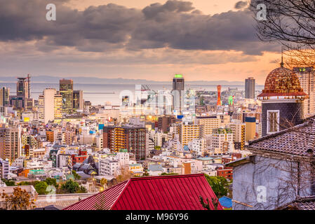 Kobe, Japan city skyline from the historic Kitano District. - Stock Photo