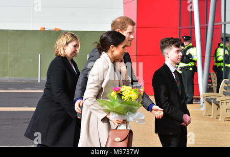 Lisburn, Northern Ireland. 23rd March, 2018. HRH Prince Harry and Meghan Markle arrive in Lisburn during the last part of their UK Tour. Lisburn: Co. Antrim: UK: 23rd March 2018. Credit: Mark Winter/Alamy Live News - Stock Photo
