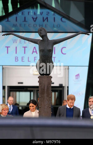 Great Victoria Street, Belfast, Northern Ireland. 23rd Mar, 2018. Prince Harry and Meghan Markle leave the Titanic Visitors Centrein Belfast for a one day visit to Northern Ireland, Friday 23 March 2018. Earlier the  couple met with members of the public who gathered outside Crown Bar in Belfast City Centre. Credit: Irish Eye/Alamy Live News - Stock Photo