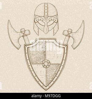 Viking warrior set - shield, swords and helmet. Hand drawn sketch on beige background - Stock Photo