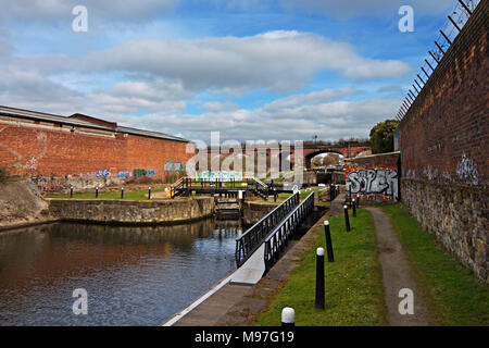 The Leeds & Liverpool Canal at Stanley Dock Locks Liverpool undergoing a major regeneration and maintenance program. - Stock Photo