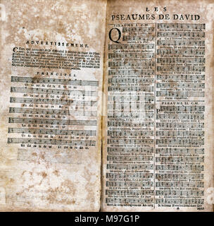Clement Marot (1496-1544). French poet. Around 1543 he translated in verse the Psalms of David that earned him the censorship of the Sorbonne. Psalms of David. Beginning of Psalms I and II. Printed edition in Amsterdam, 1683. - Stock Photo