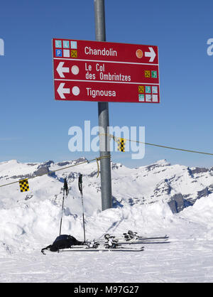 The swiss ski and snow-sport linked resort of St Luc and Chandolin in the Valais region of Switzerland - Stock Photo