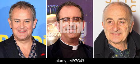 File photos of (from the left) Hugh Bonneville, the Rev Richard Coles and Sir Tony Robinson. - Stock Photo