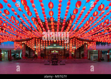 Traditional Chinese lanterns display in Thean Hou Temple illuminated for Chinese new year festival, Kuala Lumpur, Malaysia. - Stock Photo