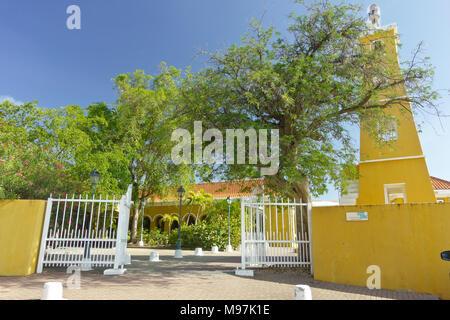 Yellow painted lighthouse in Kraledijk, Bonaire, Dutch Antilles, Caribbean Sea, build in 1932 - Stock Photo