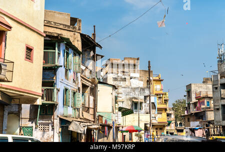 Typical buildings in Ahmedabad - Gujarat State of India - Stock Photo