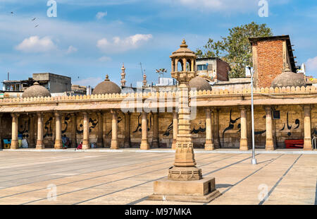 Jama Mosque, the most splendid mosque of Ahmedabad - Gujarat State of India - Stock Photo