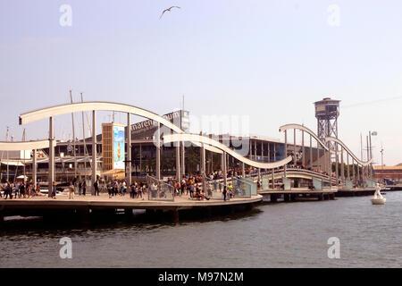 Rambla de Mar footbridge Barcelona Spain - Stock Photo