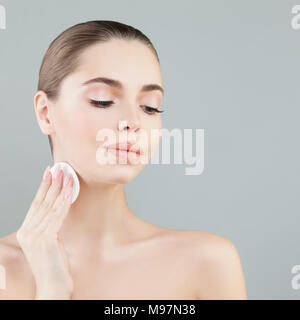 Skin Care Concept. Young Healthy Woman with Beautiful Clear Skin - Stock Photo