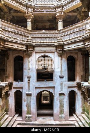 Adalaj or Rudabai Stepwell in Adalaj village near Ahmedabad - Gujarat State of India - Stock Photo