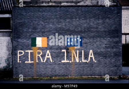 Newry RUC Corry Square police Station in Catherine Street  attacked by the Provisional IRA using homemade Mortar Bomb. Nine RUC officers, seven men and two women. 28 Feb 1985. IRA,Irish Republican Army and INLA, Irish National Liberation Army graffiti on walls and house in the Newry area after the mortar attack. These photographs were taken the day after the attack and at the funerals some days later. Wikipedia below: On 28 February 1985, the Provisional Irish Republican Army (IRA) launched a heavy mortar attack on the Royal Ulster Constabulary (RUC) base at Corry Square in Newry, Northern Ire - Stock Photo