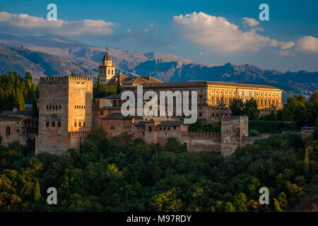 Just one of part of the Alhambra at sunset, Granada, Andalucia, Spain - Stock Photo