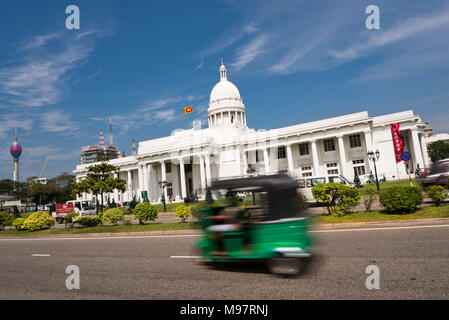 Horizontal view of the Colombo Town Hall nicknamed the White House, Colombo Sri Lanka. - Stock Photo
