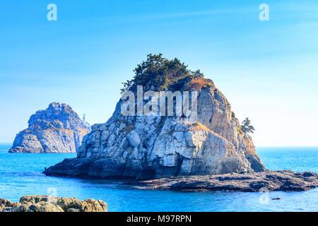Scenery of Oryukdo islands in Busan, Korea - Stock Photo