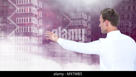 Businessman reaching and Building blueprints with number figures for business - Stock Photo