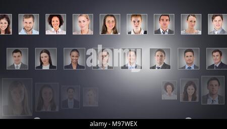 portrait profiles of different people - Stock Photo