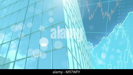 Tall buildings with economic finance background - Stock Photo