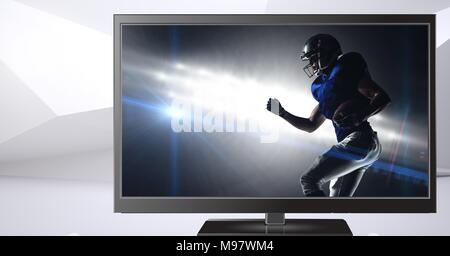 american football player on television - Stock Photo