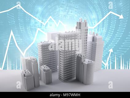 Buildings with code and economic scales background - Stock Photo