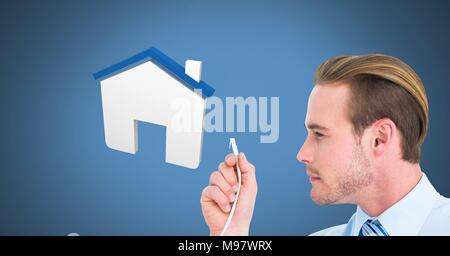 Man holding wire connection with home icon - Stock Photo