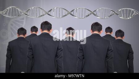 Clone men with genetic DNA - Stock Photo