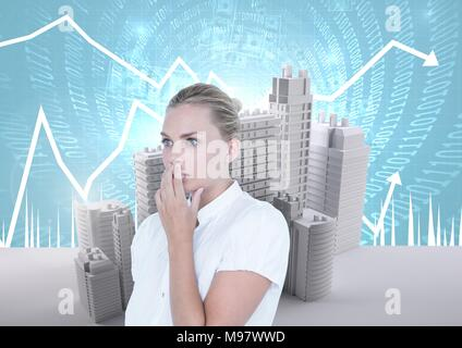 Anxious worried businesswoman and Buildings with code and economic scales background - Stock Photo