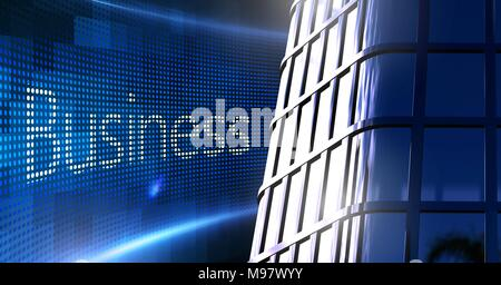 Business text with building office windows - Stock Photo