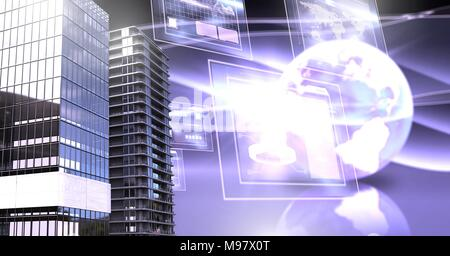 Tall buildings with world and screens interface - Stock Photo