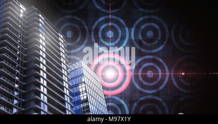Tall buildings with target circles - Stock Photo