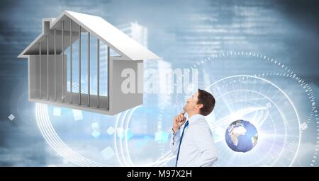 Businessman looking at House with sky interface glowing and world globe - Stock Photo