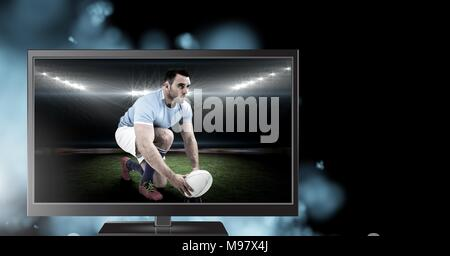 rugby player on television - Stock Photo