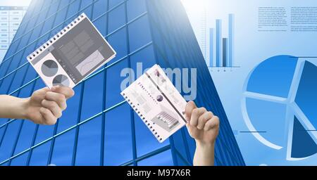 Hands holding chart documents and Tall building with economic finance charts background - Stock Photo